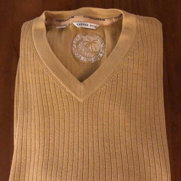 CUTTER BUCK men's golden yellow cotton sweater XL